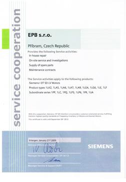 EPB – autorisierter Händler und Service von Elektromotoren Siemens